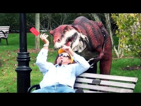 Epic Real Life Dinosaur Hidden Camera Practical Joke