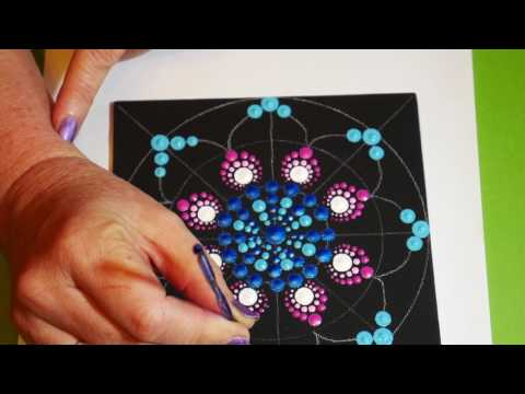 How to paint dot mandalas- #12 stained glass design