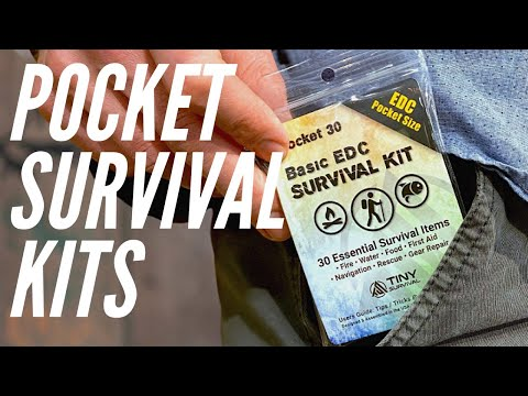 2 EDC Survival Kits: 30 & 45 Item Survival Kits | Fire Steel, Water, Matches, Whistle, & More