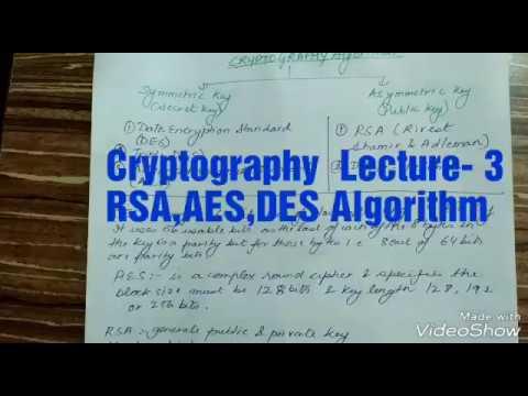 Cryptography Lecture-3 RSA,AES,DES ALGORITHM - CBSE NET