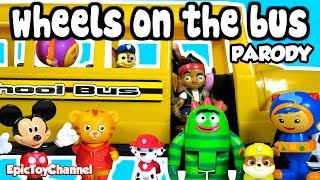 WHEELS ON THE BUS Song Paw Patrol, Yo Gabba Gabba, Mickey Mouse, Team UmiZoomi by EpicToyChannel