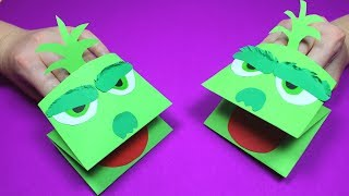 How to Make a Paper Grinch Hand Puppet | Paper Craft for Kids