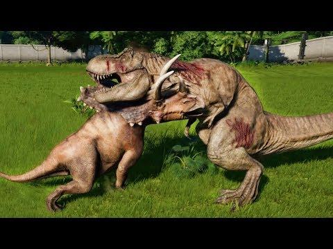 PENTACERATOPS MAX Vs T-REX,I-REX,ALLOSAURUS,SPINOSAURUS,CARNOTAURUS - Jurassic World Evolution |