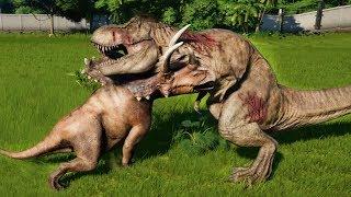 PENTACERATOPS MAX Vs T-REX,I-REX,ALLOSAURUS,SPINOSAURUS,CARNOTAURUS - Jurassic World Evolution