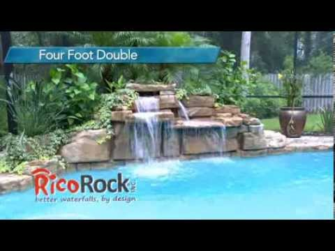 RicoRock Four Foot Double Swimming Pool Waterfall Kit
