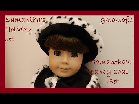 American Girl Doll Samantha's Holiday Set And Fancy Coat Set