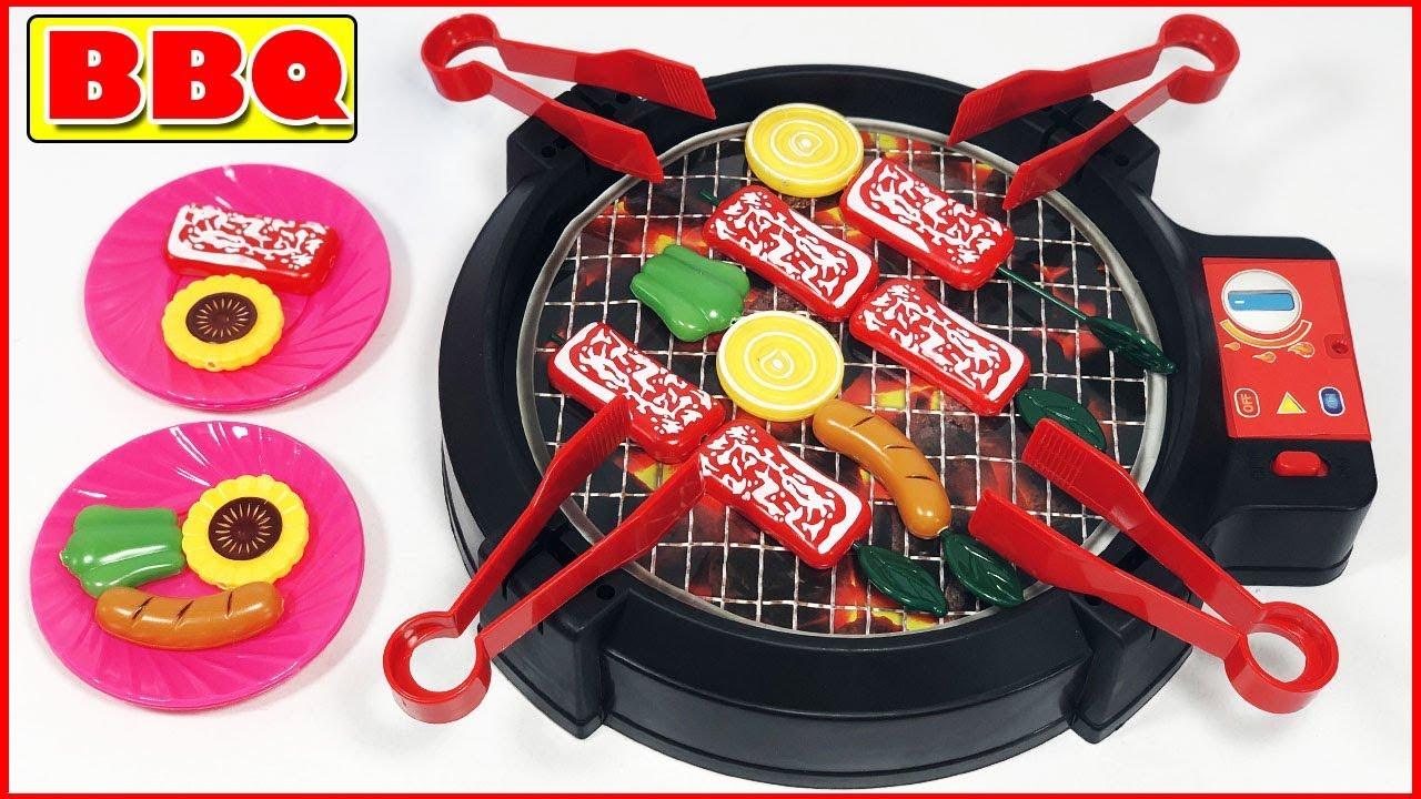 Đồ chơi bếp nướng BBQ, đồ chơi nấu ăn nướng thịt, xúc xích, rau – Barbecue party game (Chim Xinh)