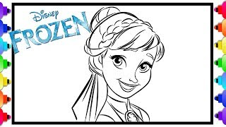 Learn How to Draw Princess Anna  Frozen 2 💙 Frozen 2 Coloring Page 💚 Disney Princess Coloring Page