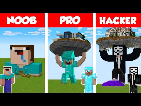 Minecraft NOOB vs PRO vs HACKER: STATUE HOUSE BUILD CHALLENG