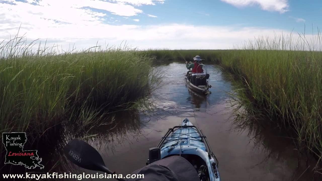 Kayak fishing louisiana salt marsh fishing youtube for Kayak fishing louisiana