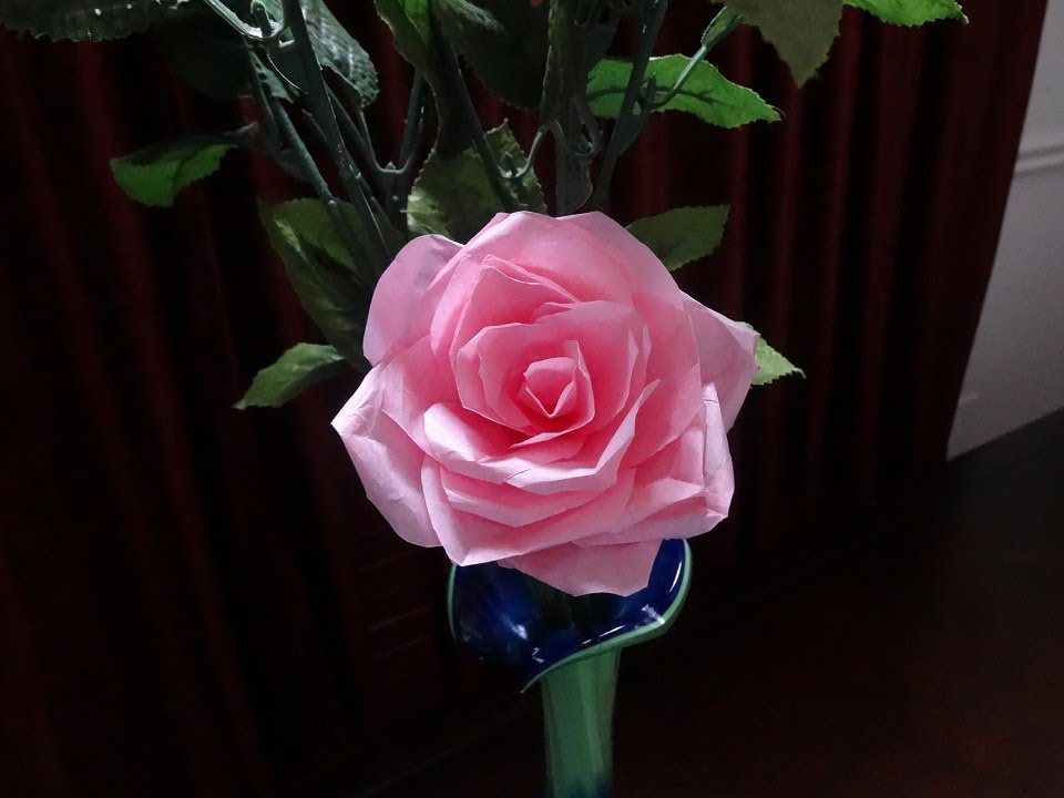 Papercraft How to make tissue paper rose flower with wrapping method / Valentine's day craft