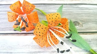 Paper Lily Flower (Tiger Lily) How to make crepe paper flowers Easy Tutorial