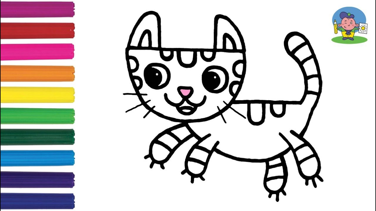 Как нарисовать КОТЁНКА / Раскраска КОТЕНОК для детей ...