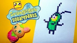 Рисуем по клеточкам-ПЛАНКТОН ИЗ СПАНЧ БОБ (PLANKTON/SpongeBob SquarePants)PIXEL ART