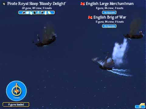 Sid Meier's Pirates! Royal Sloop vs. Brig of War and Large Merchantman (Swashbuckler) HD