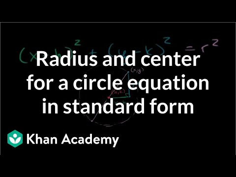 Radius and center for a circle equation in standard form | Algebra II | Khan Academy