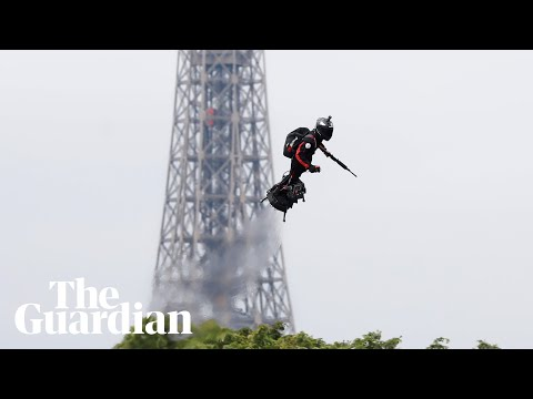Jet-powered flyboard steals the show at Bastille Day celebrations