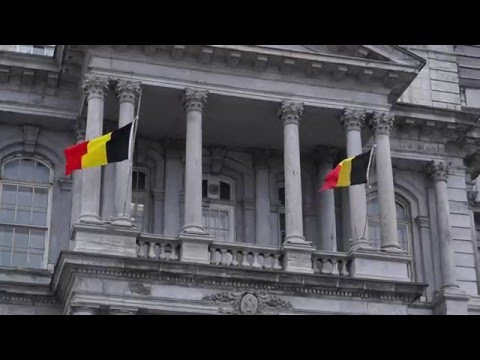 Two Belgian Flags Fly At Half-Mast From Montreal City Hall 00002