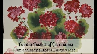 Paint a basket of red geraniums