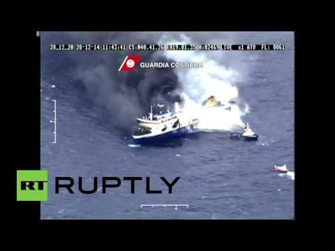 Albania: Ferry fire blazes through ship as coastguard attempt rescue
