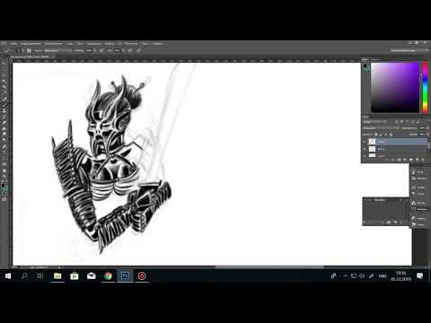 Рисование в фотошопе (эскиз тату для перекрытия сложного портака)