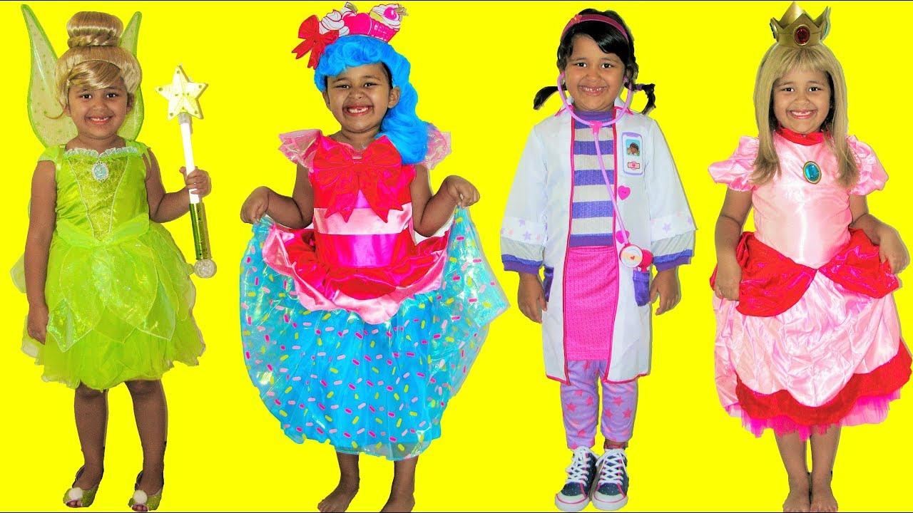 10 Halloween Costumes Disney Tinkerbell Princess Peach Jessicake Doc McStuffins Lambie  sc 1 st  YouTube & 10 Halloween Costumes Disney Tinkerbell Princess Peach Jessicake Doc ...