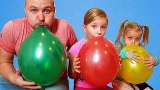 Дети играют с папой шариками Сказки для Евы