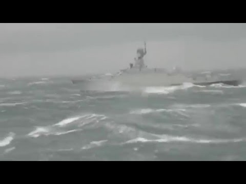 Russian ships in storm