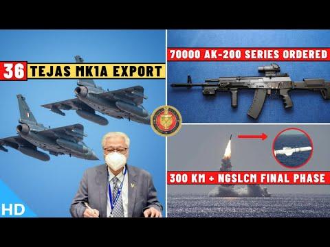 Indian Defence Updates : 70000 AK-200 Series Ordered,36 Tejas Export,NGSLCM Final Phase,2 New UGCV