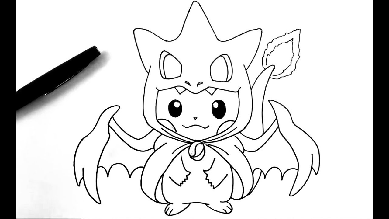 how to draw pikachu charizard pokemon