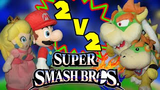 ABM: Super Smash Bros Wii U Match!! Mario & Peach vs Bowser & Bowser Jr !! HD