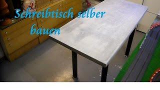 DIY Tisch aus Paletten und Beton selber bauen Beton Schreibtisch - Tisch bauen Anleitung