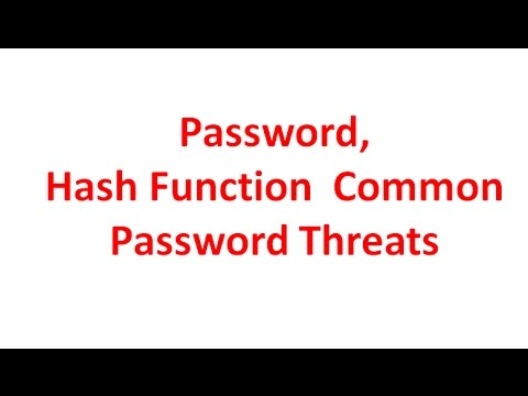 Passwords | Hash Function | Common Password Threats | Cyber Security