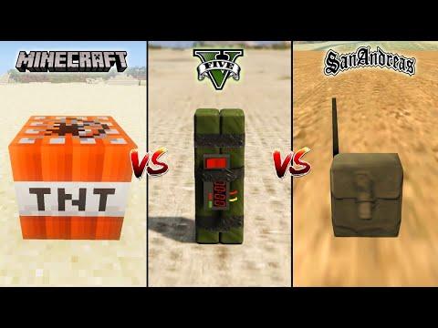 MINECRAFT TNT VS GTA 5 TNT VS GTA SAN ANDREAS TNT - WHICH IS BEST?