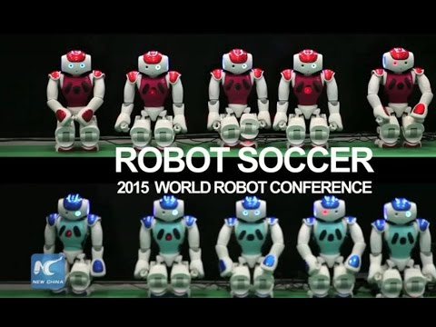 Robots' soccer game at World Robot Conference, Beijing