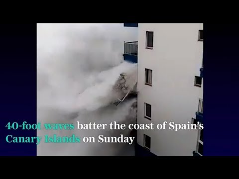 40 Ft. Waves Pound Buildings In Canary Islands/Climate Chaos