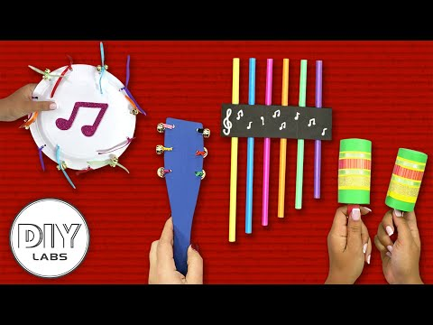 4 Easy MUSICAL INSTRUMENT CRAFTS for toddlers   Fast-n-Easy   DIY Arts & Crafts for Kids