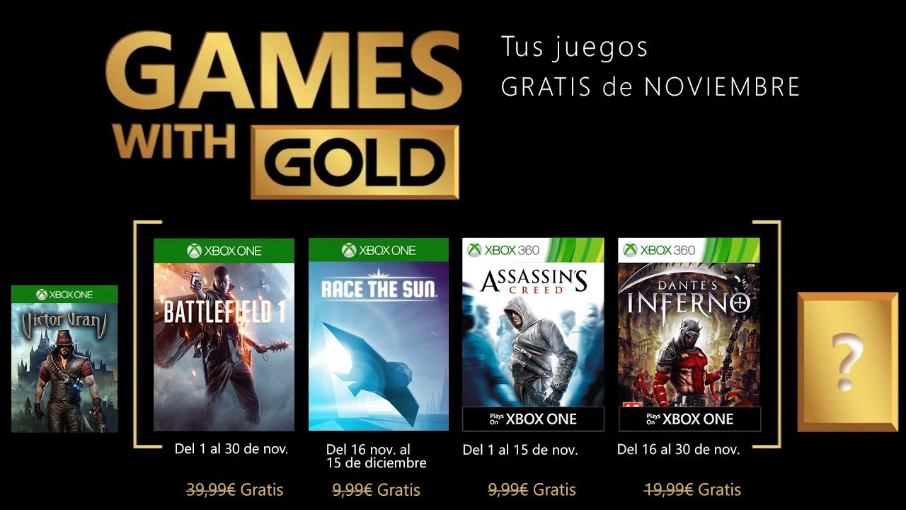 Games With Gold Xbox One Y Xbox 360 Noviembre 2018 Youtube