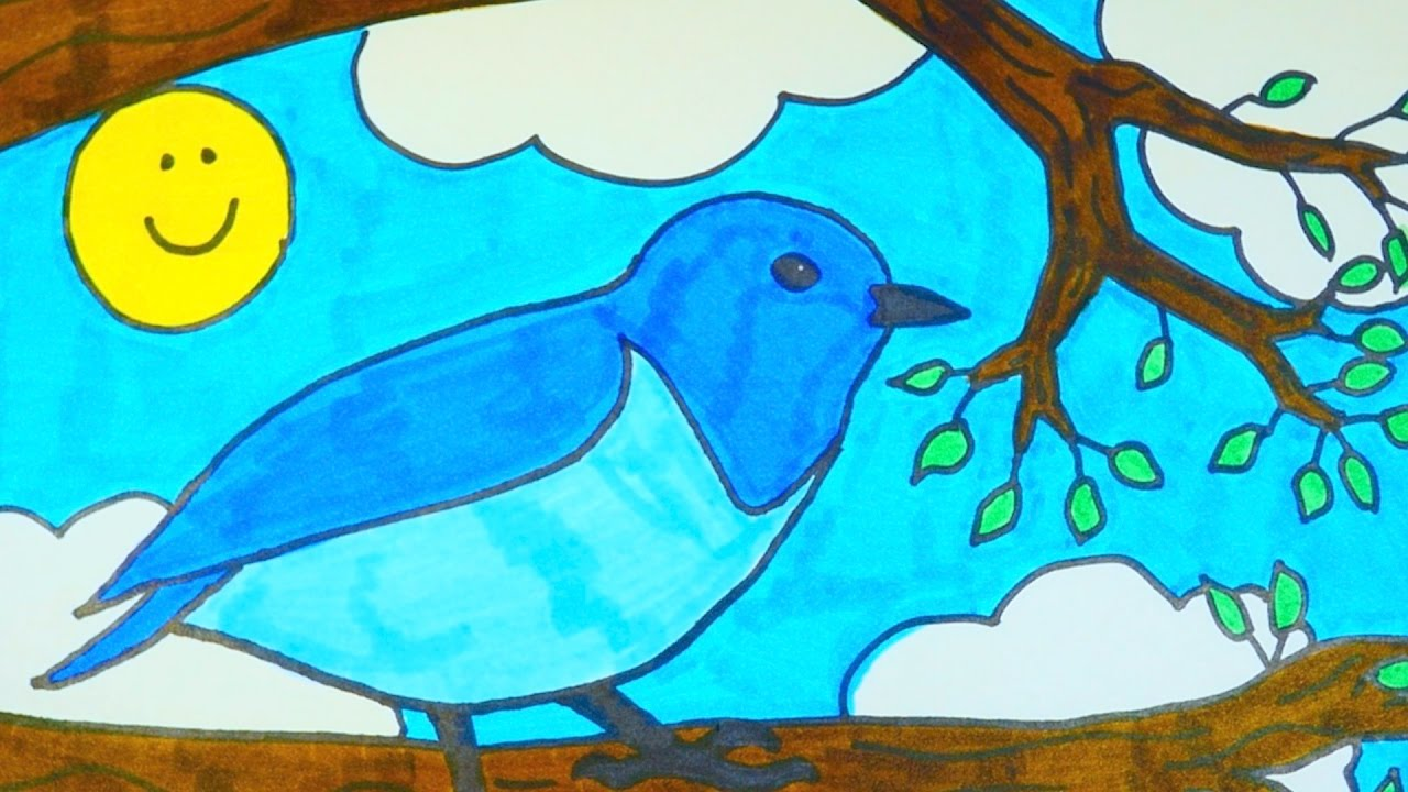 How To Draw A Cartoon Blue Bird Kids Coloring Video