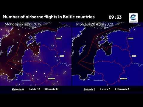 Air traffic situation over Latvia, Lithuania and Estonia - 20 April 2020 vs 22 April 2019