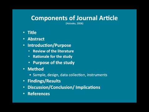 Reading and Assessing scholarly journal articles