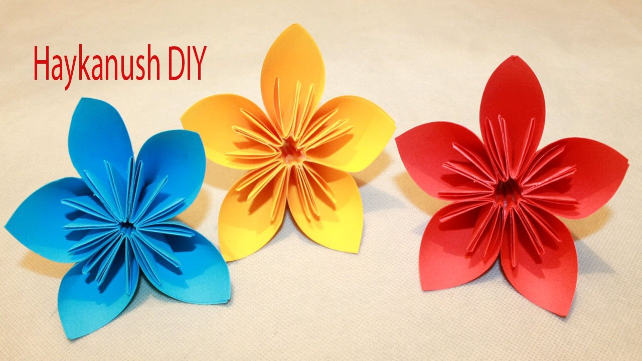 Como hacer flores de papel origami faciles youtube - Decorar paredes facil ...