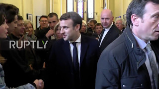 France  Macron mobbed by supporters as he casts vote in Paris