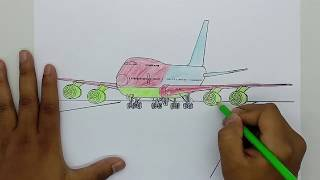 How to Learn Drawing and Coloring Page Airplane For Kids