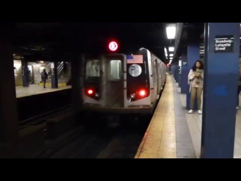 IND 6th Ave Line: R160A-2 R Train at Broadway-Lafayette St (Weekend)
