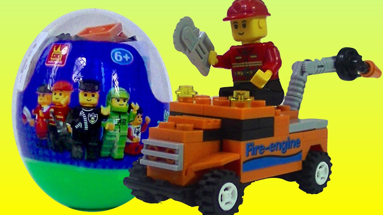 Lego Like Toys : Wange surprise egg fire engine building blocks like lego