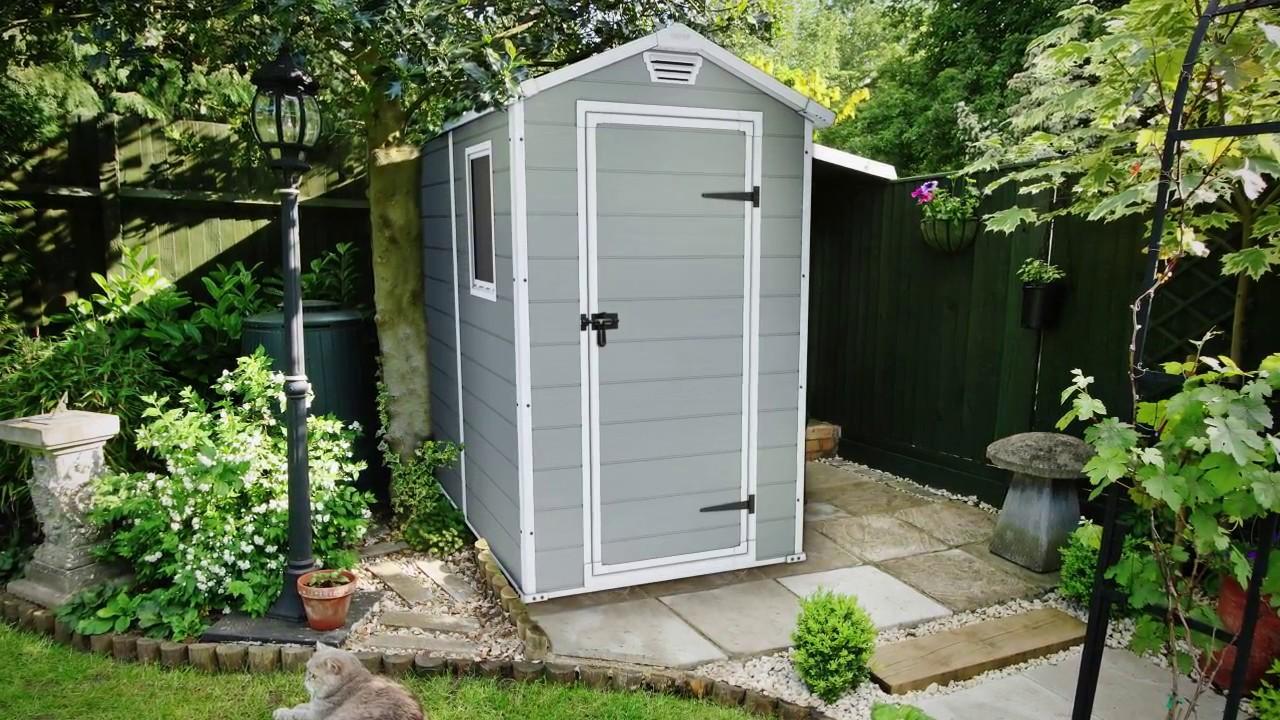 keter manor 4x6 outdoor garden storage shed de youtube. Black Bedroom Furniture Sets. Home Design Ideas