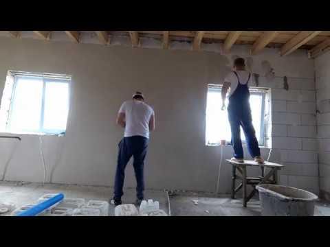 Штукатурка стен без маяков. Минимальные затраты. Строительство дома 9 на 8.