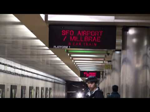 BART POWELL STATION TO SFO INTL AIRPORT in HD 1080p