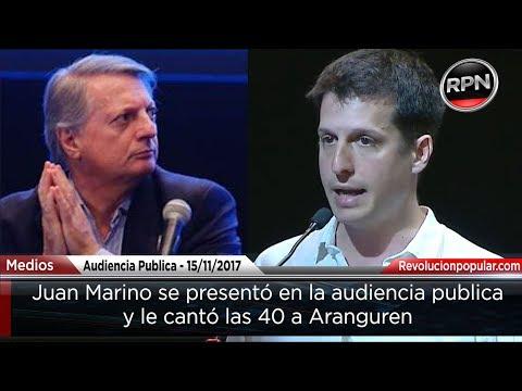 Juan Marino se presentó en la audiencia pública y le dijo de todo a Aranguren